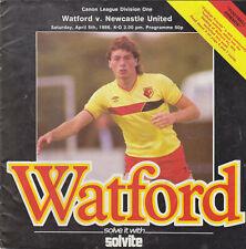 Programme / Programma Watford v Newcastle United 05-04-1986