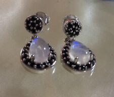 4.5 Ct, Rainbow, Moonstone Earrings, Spinel, Dangle, Platinum On Sterling Silver