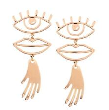 Fashion Gold Silver Plated Dangle Earrings Ethnic Hand Face Lip Ear Stud Jewelry