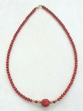 """RED CORAL BEAD & LARGE NUGGET NECKLACE  19"""" 14k/24k GOLD FILLED"""