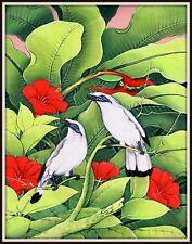 "Original  Balinese Painting ""Bali Starlings in Hibiscus"" (15.5"" High x 12"" Wide)"