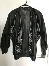 Sequin Leather Jacket Vintage 80s 90s Neiman Marcus Butterfly Sleeve Glam Disco