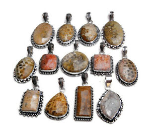 New Handmade Pcs Lot Natural Fossil Coral Gemstone 925 Sterling Silver Pendants