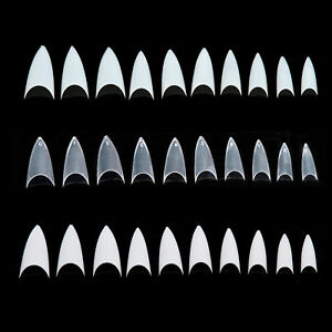 500 PCS Stiletto Sharp Nail Art Acrylic French False Tips White Clear Natural