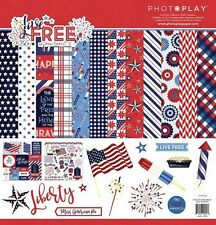 "PHOTOPLAY ""LIVE FREE"" 12X12 PAPER JULY 4TH PATRIOTIC FAMILY  SCRAPJACK'S PLACE"