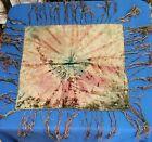 Vintage Fringed Tye Dye Piano Dresser Scarf Table Runner 33 x33