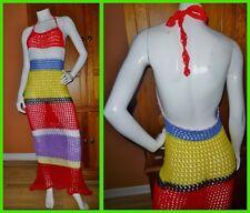 All HAND CROCHET sheer Open KNIT HIPPIE Festival Boho Backless Maxi DRESS