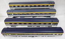 4pc Lot Baltimore Ohio Big O Passenger Coach Pullman Car 2 Rail Built Wood Kits
