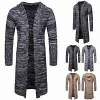 Men's Hooded Trench Coat Jacket Slim Long Sleeve Knitted Cardigan Sweater