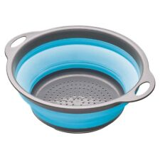 24cm Blue Colourworks Collapsible Colander - Silicone Grey Nylon Handles