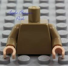NEW Lego Girl/Boy Minifig Plain DARK TAN TORSO Blank Body Upper Light Flesh Hand
