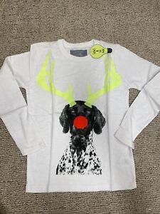 Crewcuts kid boy long sleeve graphic top tee Shirt White Christmas Dalmatian 8