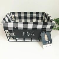 NEW Rae Dunn Things Wire Basket Black Plaid Liner 12x8.5 NWT