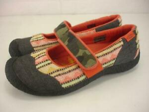 Women's sz 7 M Keen Harvest Mary Jane Shoes Orange Gray Camo Herringbone Slip-On