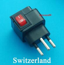 Universal Switzerland Swiss Travel Adaptor AC Power Plug + Switch AUS UK USA EU