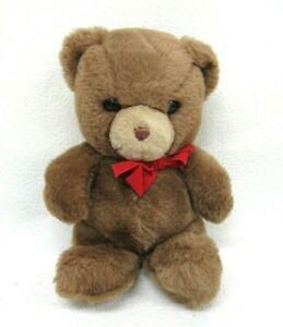 "Vtg Gund Brown Tender Teddy Bear Stuffed Plush 9"" Red Bow"