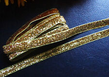 3/8 Inch Metallic / Velvet Ribbon gold color selling by the yard
