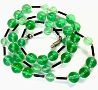 Vintage Green & Black Glass Bead Necklace Screw Clasp 24 Inch Long - GIFT BOXED