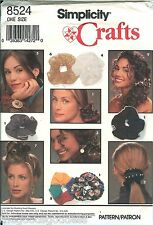 Simplicity 8524 Crafts HAIR ACCESSORIES scrunchies ponytail pattern UNCUT FF