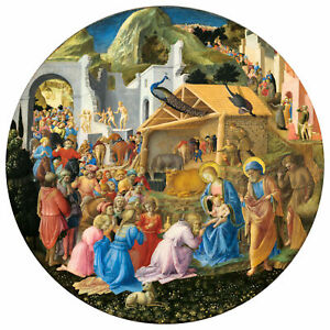 Fra Angelico, Fra Filippo Lippi, The Adoration of the Magi, 50x50cm, Canvas