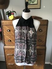 A.L.C. 100% Silk Sleeveless Button Down Black And Brown Pattern Top Size S