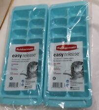 RUBBERMAID LIGHT BLUE EASY RELEASE ICE CUBE TRAY 2867B SET OF 2 NEW