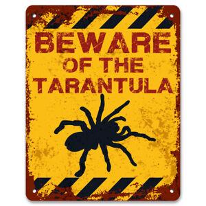 Beware Of The Tarantula Vintage Metal Garden Warning Sign | Spider Warning Sign