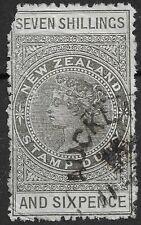 New Zealand 1888 SG F41 7/6 bronze-grey used Postal Fiscal wmk 12b. Spacefiller