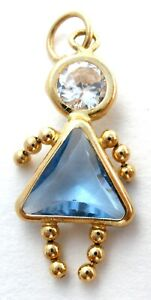 Vintage 14K Yellow Gold March Birthstone Baby Girl Charm Brat Blue CZ Pendant