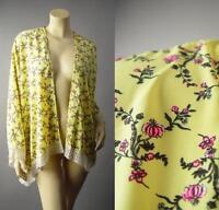 Exotic Asian Floral Print Open Front Crochet Trim Kimono Wrap 191 mv Jacket OS