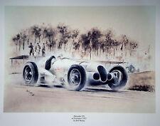MR7 Mercedes 125 Donington 1937 Beautiful Motoring Classic Car Print Poster