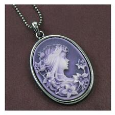 Retro Vintage Antique Style Purple Lavender Cameo Flower Girl Pendant Necklace