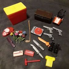 LOT 20 Vintage BARBIE doll accessories chest camera binoculars record player ++