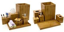 6 PIECE BAMBOO BATHROOM SET SOAP DISPENSER TUMBLER TRAY BIN TISSUE BOX