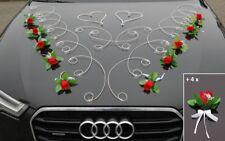 FEINHEIT Autoschmuck Braut Paar Rose Deko Dekoration Hochzeit Autodeko Ratan