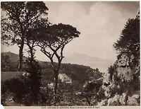 Italia Contorni Di Sorrento Con Vista Di Capri Vintage Albumina Ca 1875