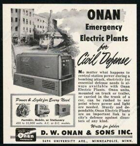 1953 Onan emergency electric plant photo civil defense war pic vintage print ad