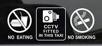2 x Warning Sticker CCTV Camera No Smoking Eating Car Vehicle Taxi Window Sign +