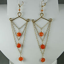 14Kt Gold Filled Carnelian Dangle Drop Earrings Faceted Leverbacks Natural Stone