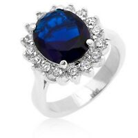 3.90 Ct Oval Cut Real Sapphire Diamond Engagement Ring 14K White Gold Size 5 6 7