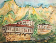 VINTAGE WC PAINTING IMPRESSIONIST MOUNTAIN LANDSCAPE HUTS