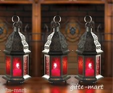 3 lot christmas RED Moroccan Candle holder Lantern Lamp light table centerpiece
