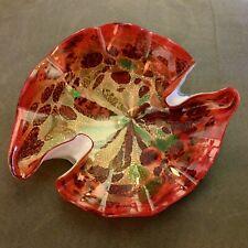 Stunning Vintage Murano Art Glass Bowl Fluid Red Green Gold Italy Millefiori
