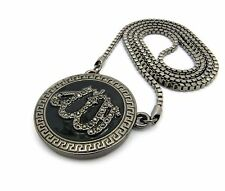 """Iced BLACK ALLAH MUSLIM Round Bling Pendant & 3mm 30"""" Box Chain Hip Hop Necklace"""