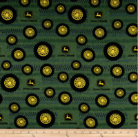 John Deere Tires On Tread Adult Green 100% cotton flannel fabric by the yard