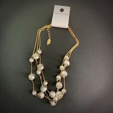 Coldwater Creek Demi Bead Illusion Necklace Pearl Clear Modern Celestial NEW