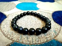 Black Tourmaline Stone 8MM Gemstone Round Beads Stretchy Bracelet Healing Reiki