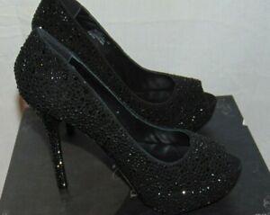 Size 6M Pleaser Prestige-16  Black Faux Suede Beaded Open Toe  Formal Pumps
