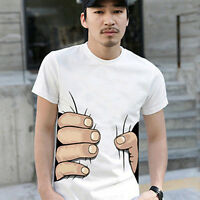 JN_ Men Summer 3D Big Hand Print Round Neck Short Sleeve White T-shirt Hot Gif