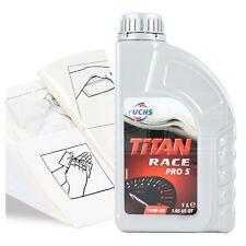 Engine Oil Top Up 1 LITRE Fuchs Titan Race Pro S 10W-60 1L +Gloves,Wipes,Funnel
